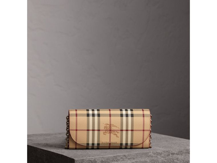 Leather Trim Haymarket Check Wallet with Chain in Coral Red - Women | Burberry - cell image 4