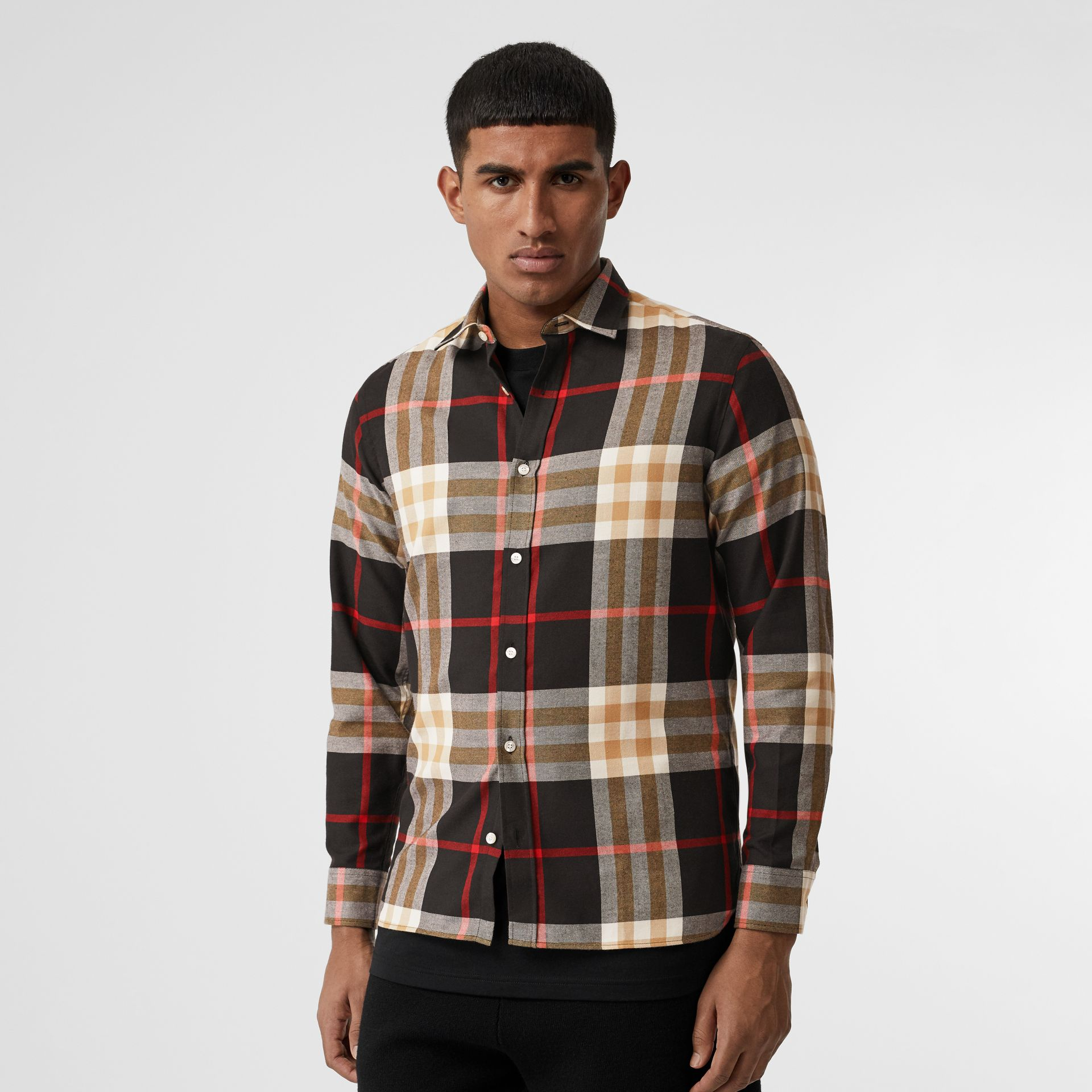 Check Cotton Flannel Shirt in Black - Men | Burberry - gallery image 0
