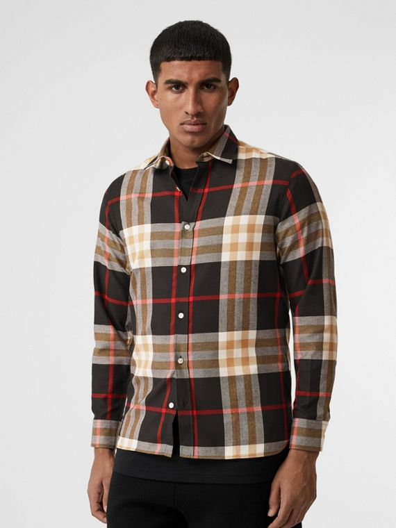 Check Cotton Flannel Shirt in Black