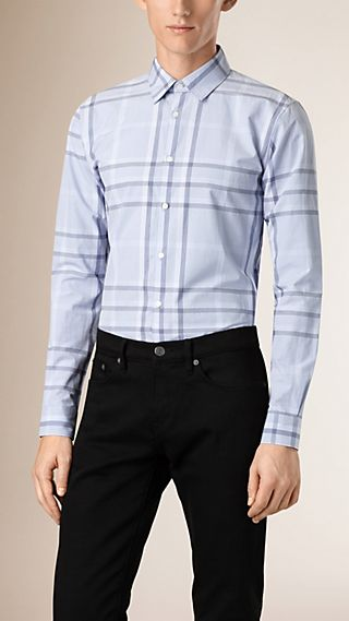Slim Fit Tonal Check Cotton Shirt