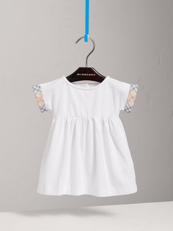 Short-sleeved Cotton Piqué Dress with Check Detail in White