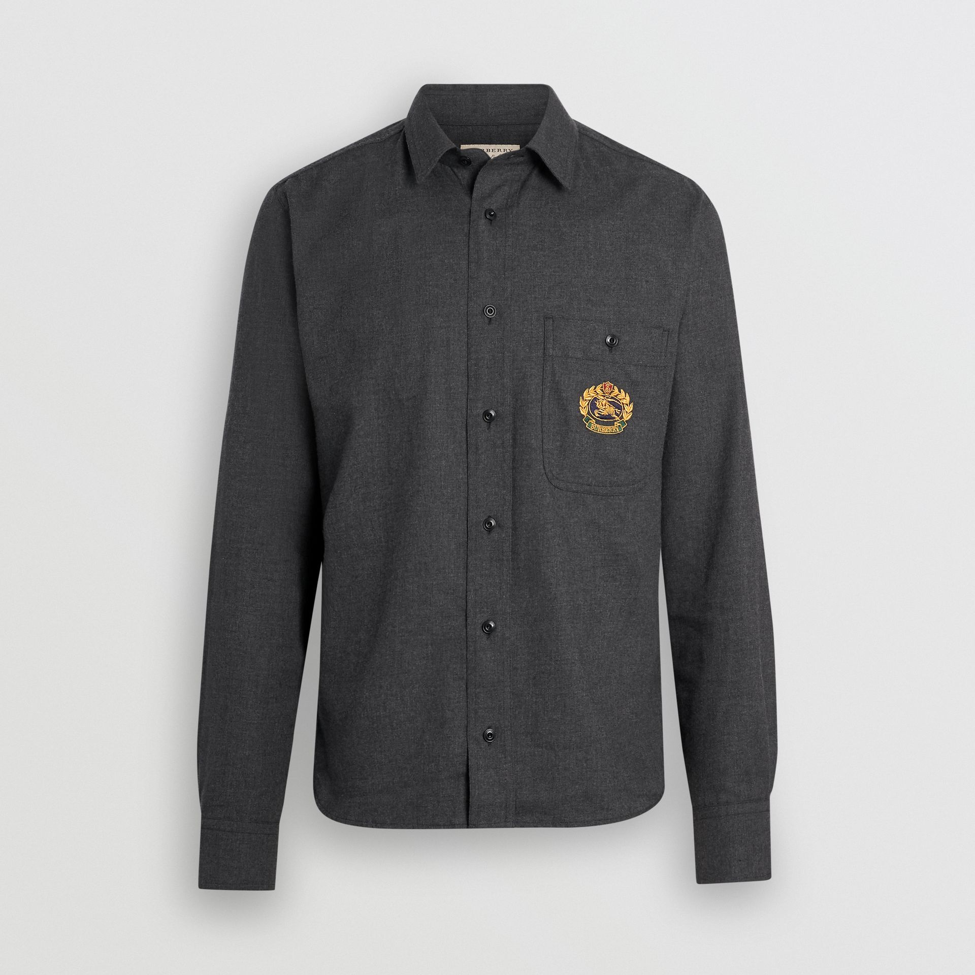 Embroidered Crest Flannel Shirt in Charcoal Melange - Men | Burberry United States - gallery image 3