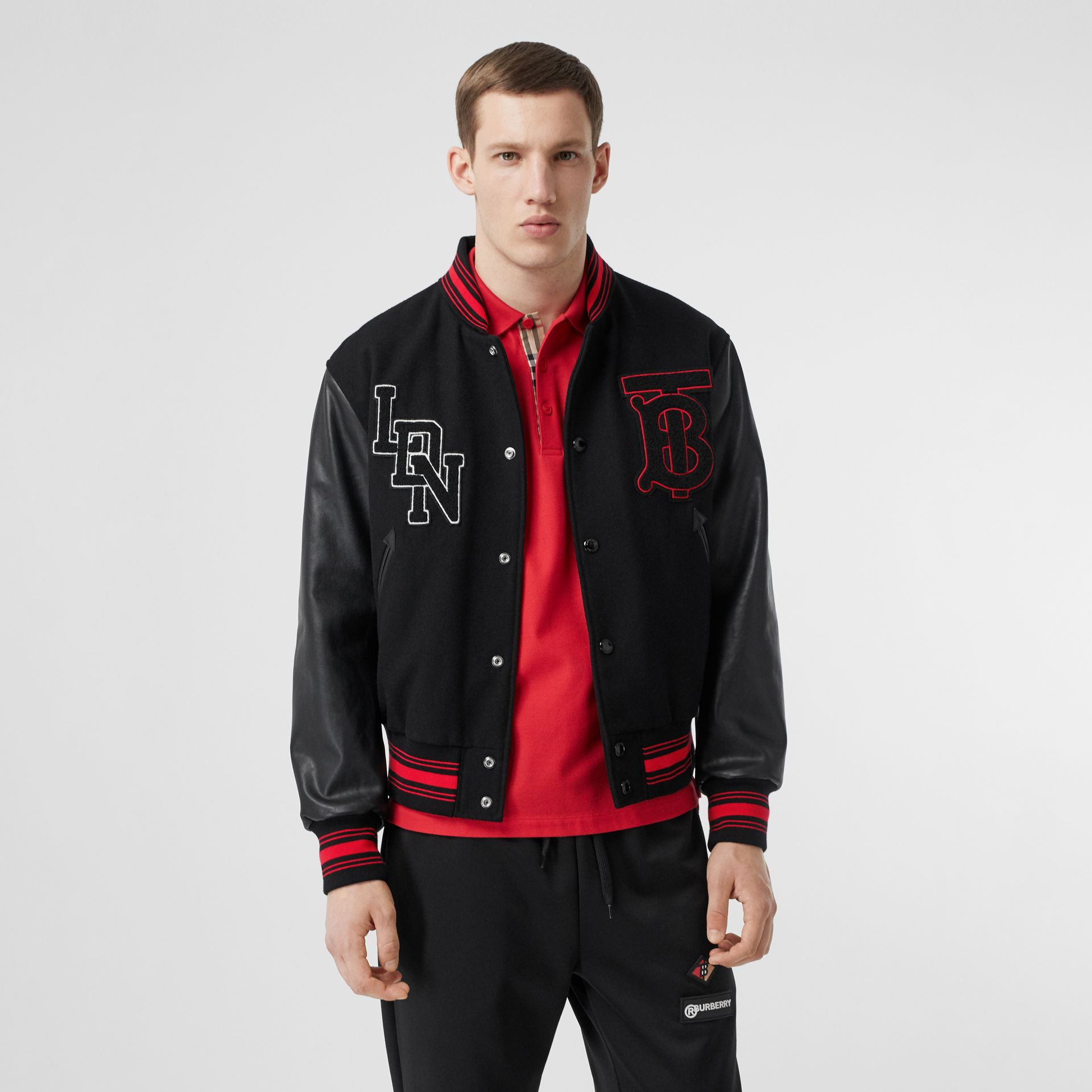 Contrast Sleeve Logo Graphic Wool Bomber Jacket in Black - Men | Burberry Australia - gallery image 5