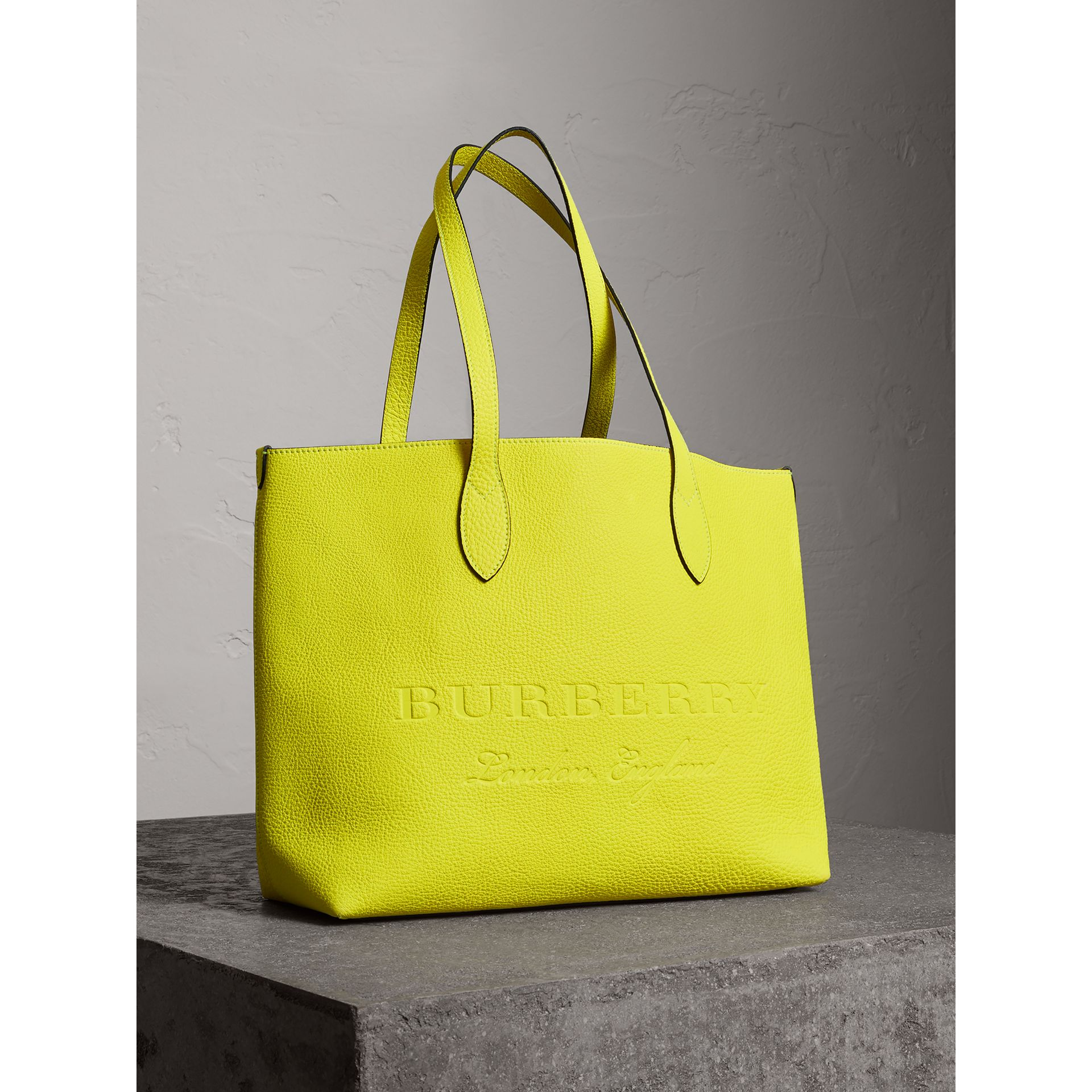 Large Embossed Leather Tote in Neon Yellow | Burberry - gallery image 4