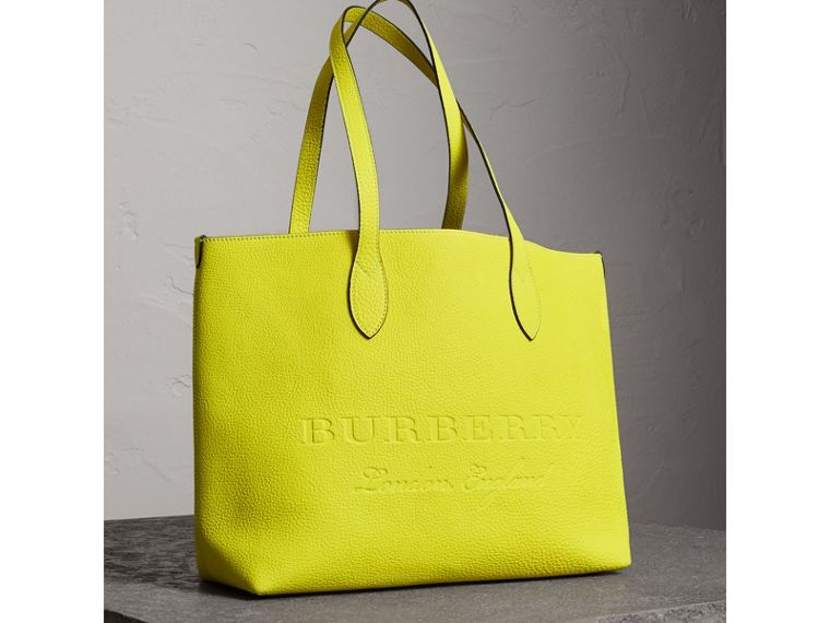 Large Embossed Leather Tote in Neon Yellow | Burberry - cell image 4