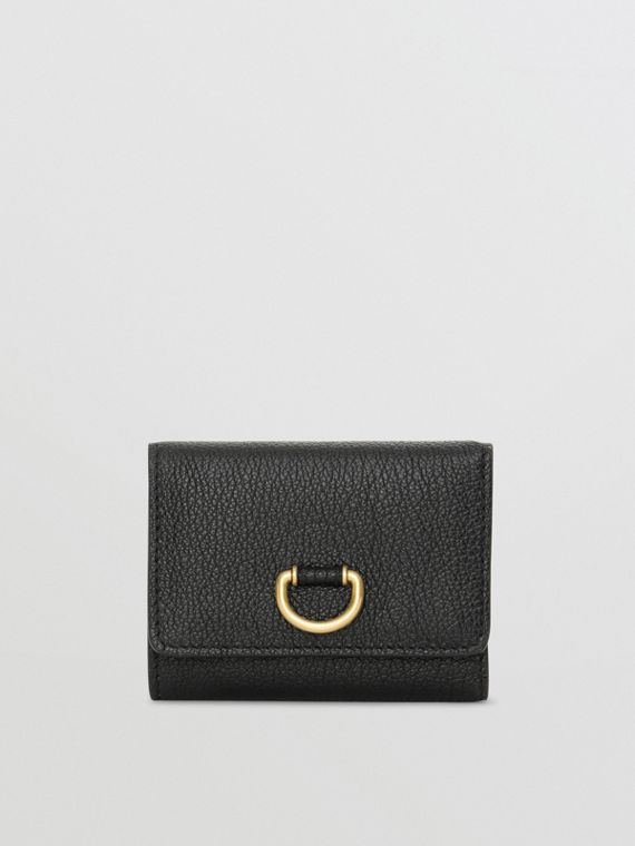 Small D-ring Leather Wallet in Black