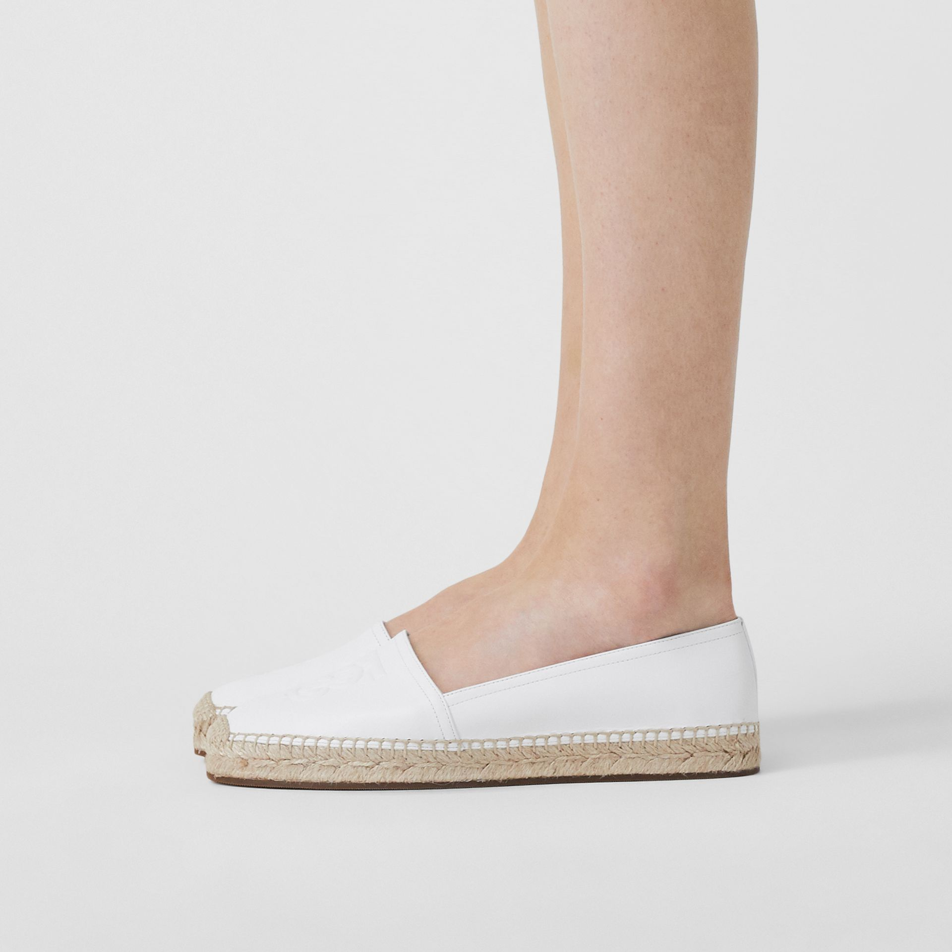 Monogram Motif Leather Espadrilles in White - Women | Burberry Australia - gallery image 2
