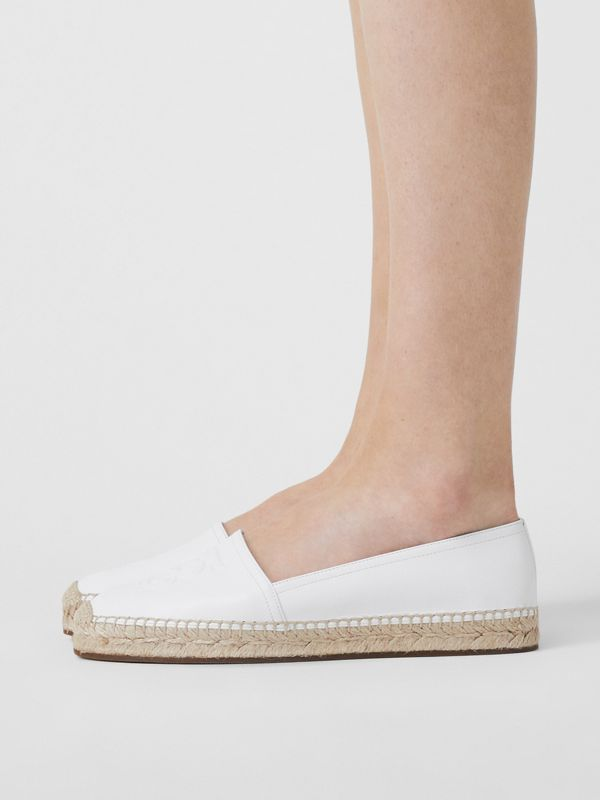 Monogram Motif Leather Espadrilles in White - Women | Burberry - cell image 2
