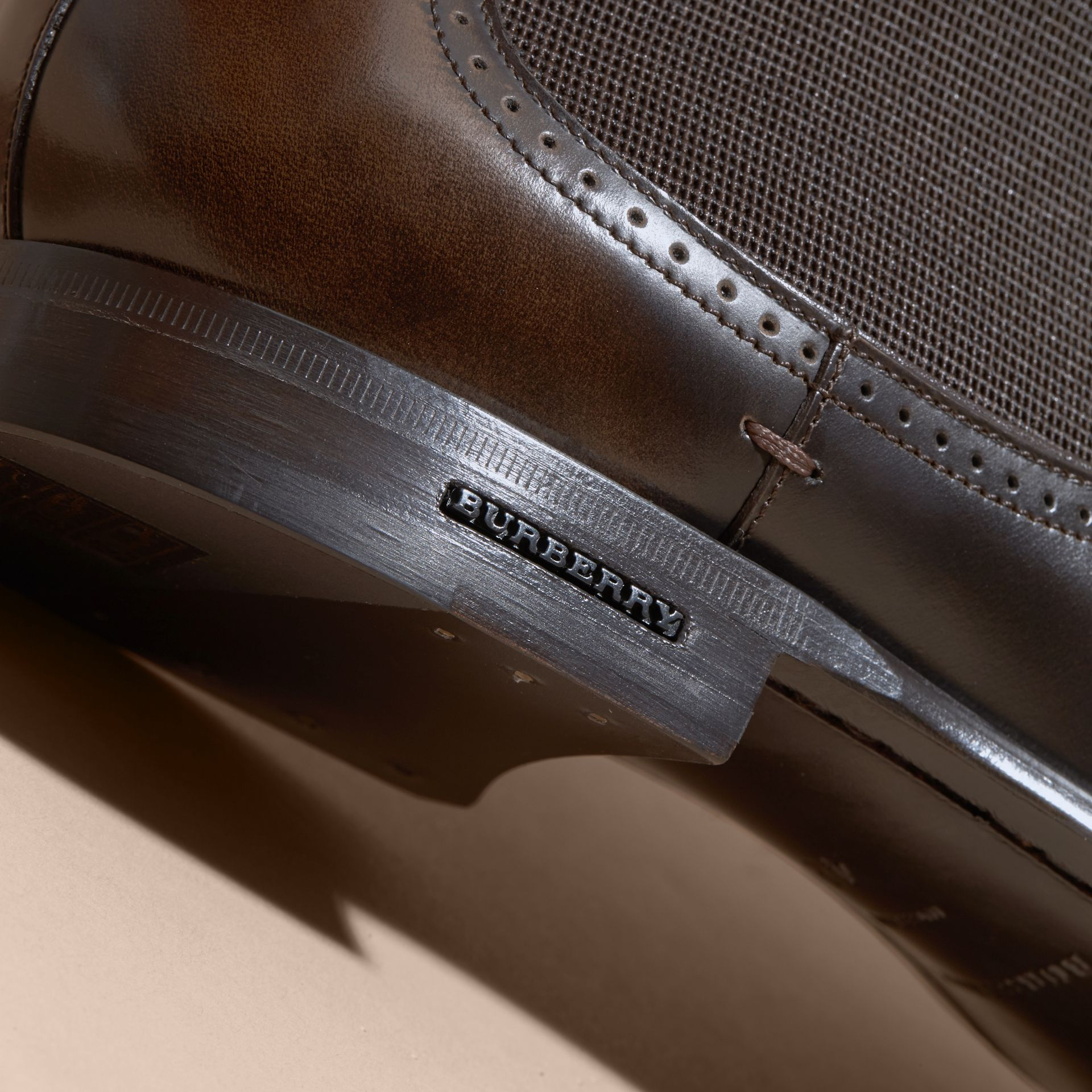 Perforated Detail Leather Chelsea Boots in Chocolate Brown - Men | Burberry Canada - gallery image 2