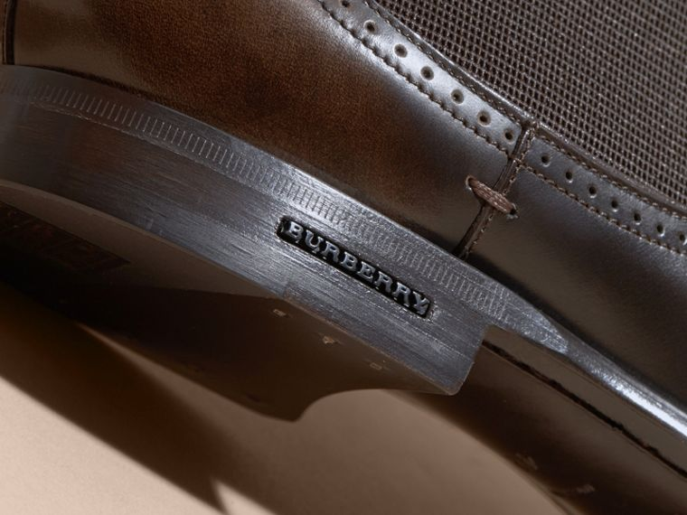 Perforated Detail Leather Chelsea Boots in Chocolate Brown - Men | Burberry - cell image 1