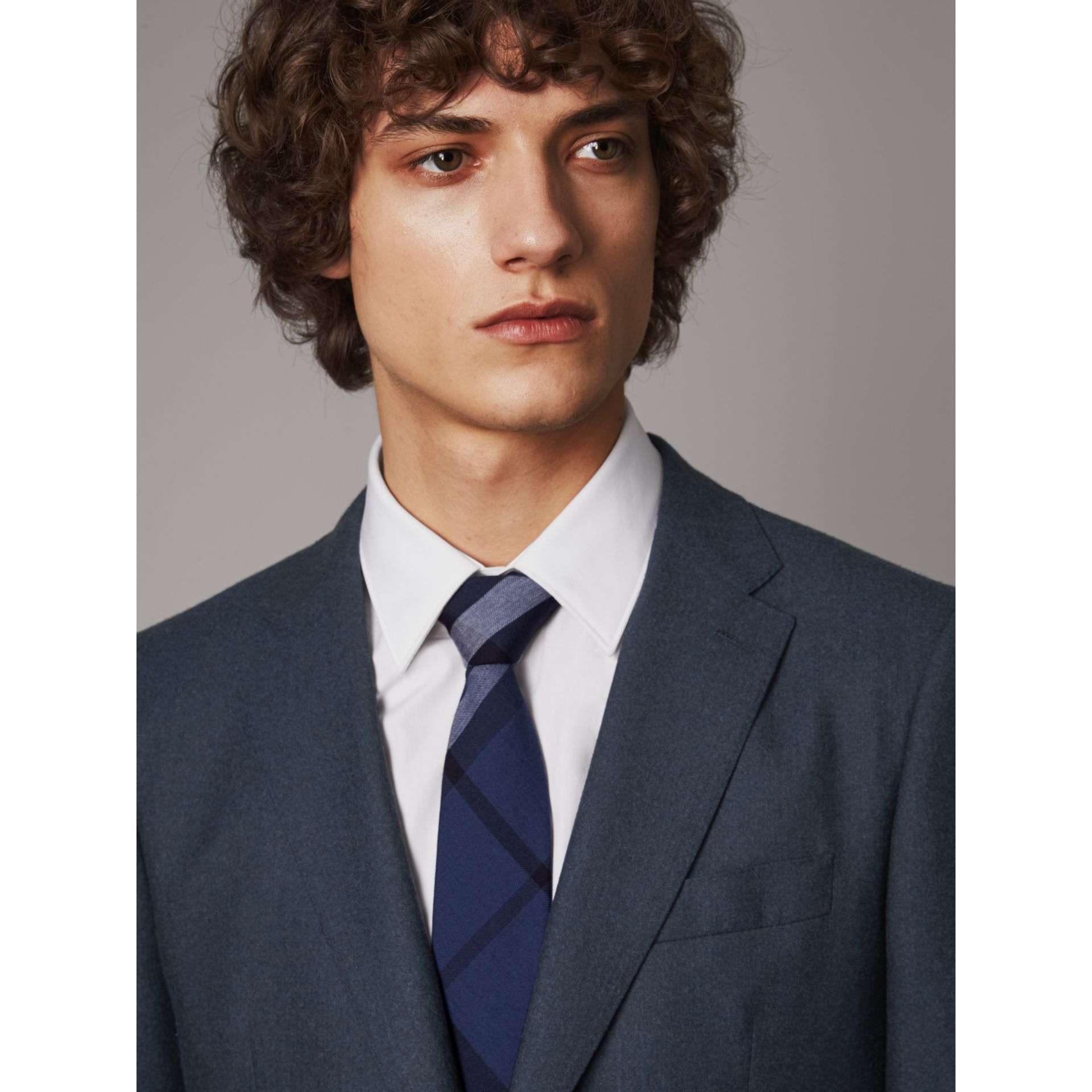 Modern Cut Check Cotton Cashmere Tie in Canvas Blue - Men | Burberry Australia - gallery image 3