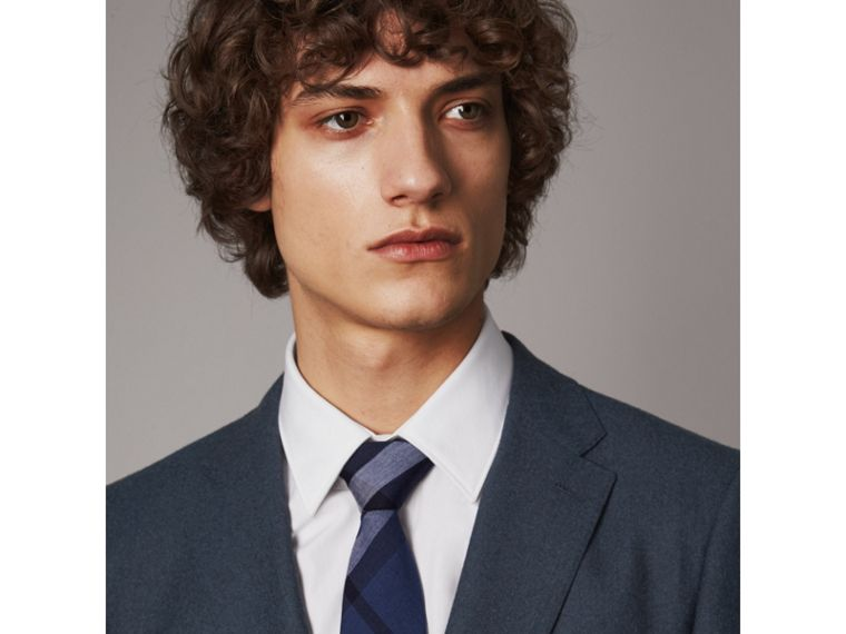 Modern Cut Check Cotton Cashmere Tie in Canvas Blue - Men | Burberry - cell image 2