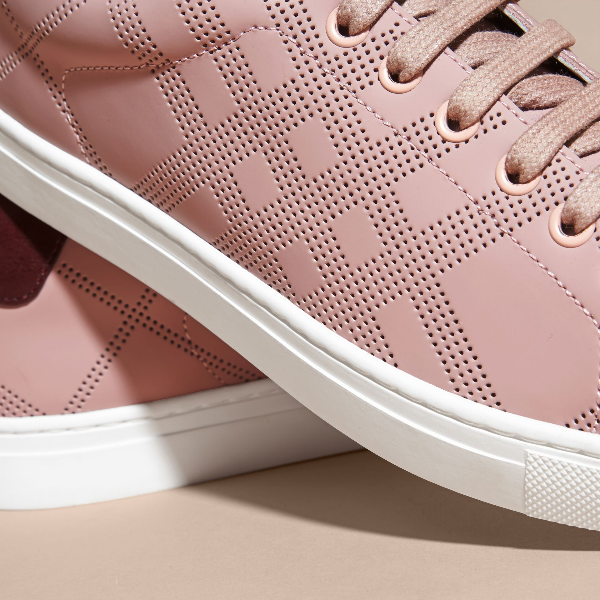 Rose pink/deep claret melange Perforated Check Leather Trainers Rose Pink/deep Claret Melange - gallery image 2