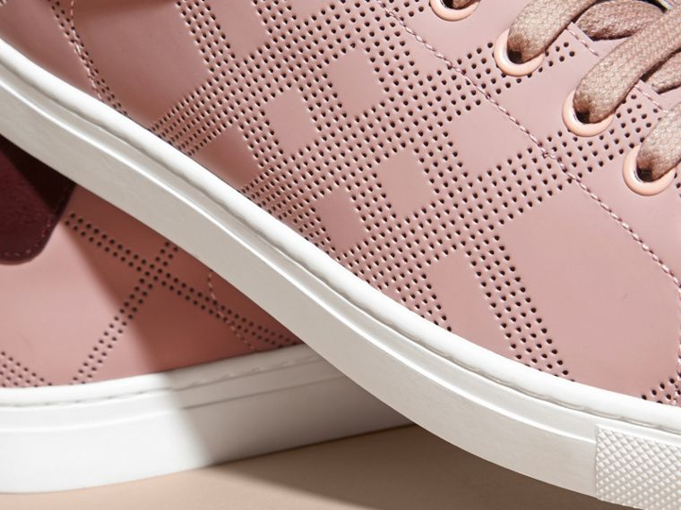 Rose pink/deep claret melange Perforated Check Leather Trainers Rose Pink/deep Claret Melange - cell image 1