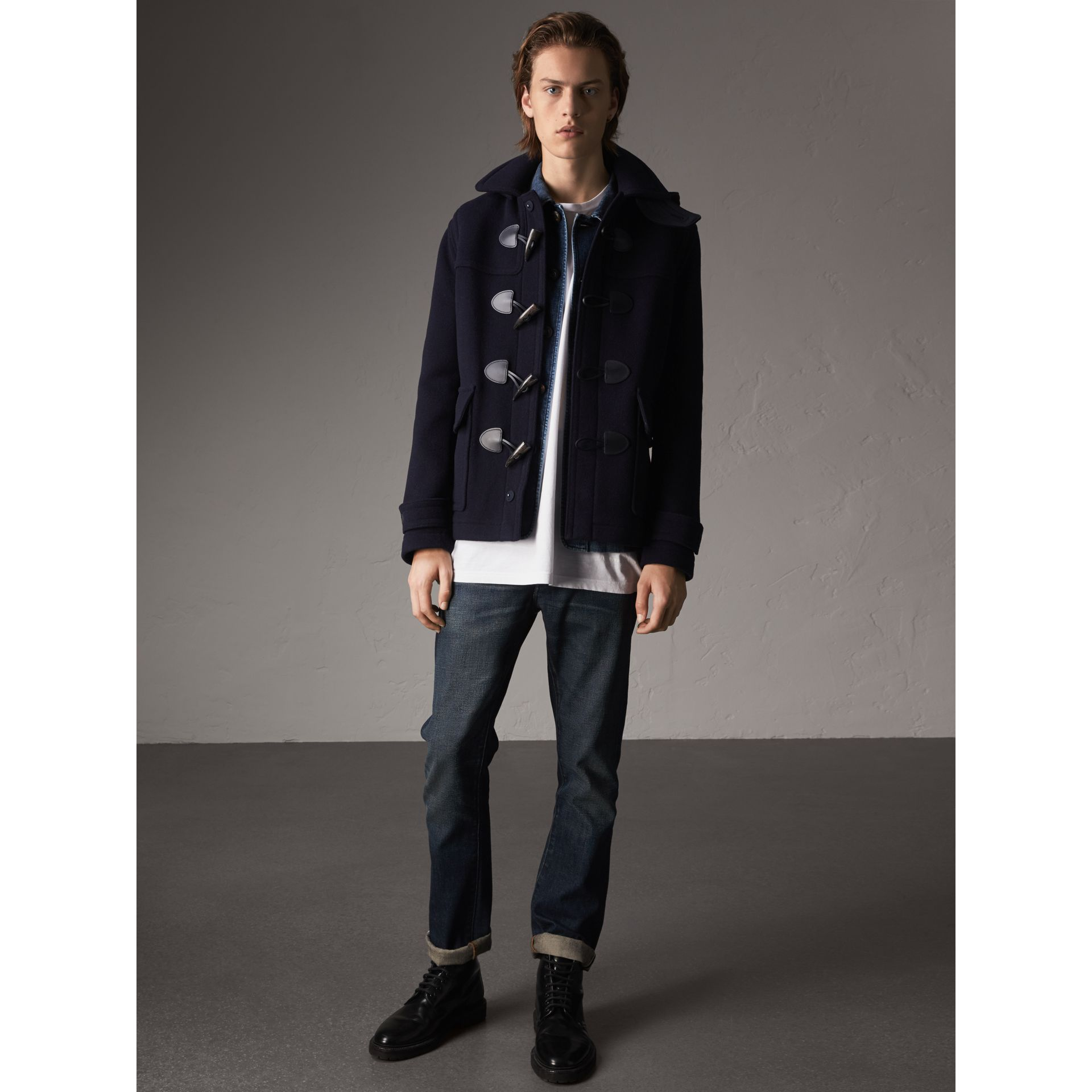 Wool Duffle Jacket with Detachable Hood in Navy - Men | Burberry - gallery image 6