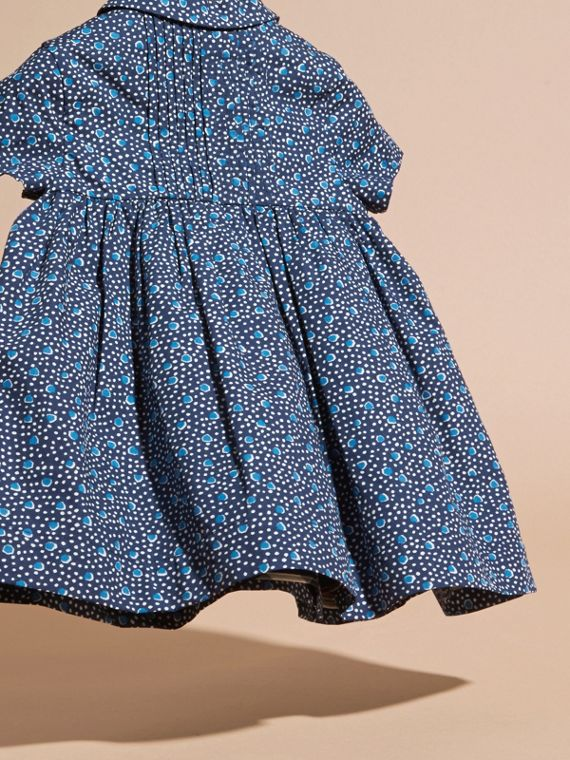 Pale navy Pintuck Detail Painterly Spot Print  Cotton Dress - cell image 3