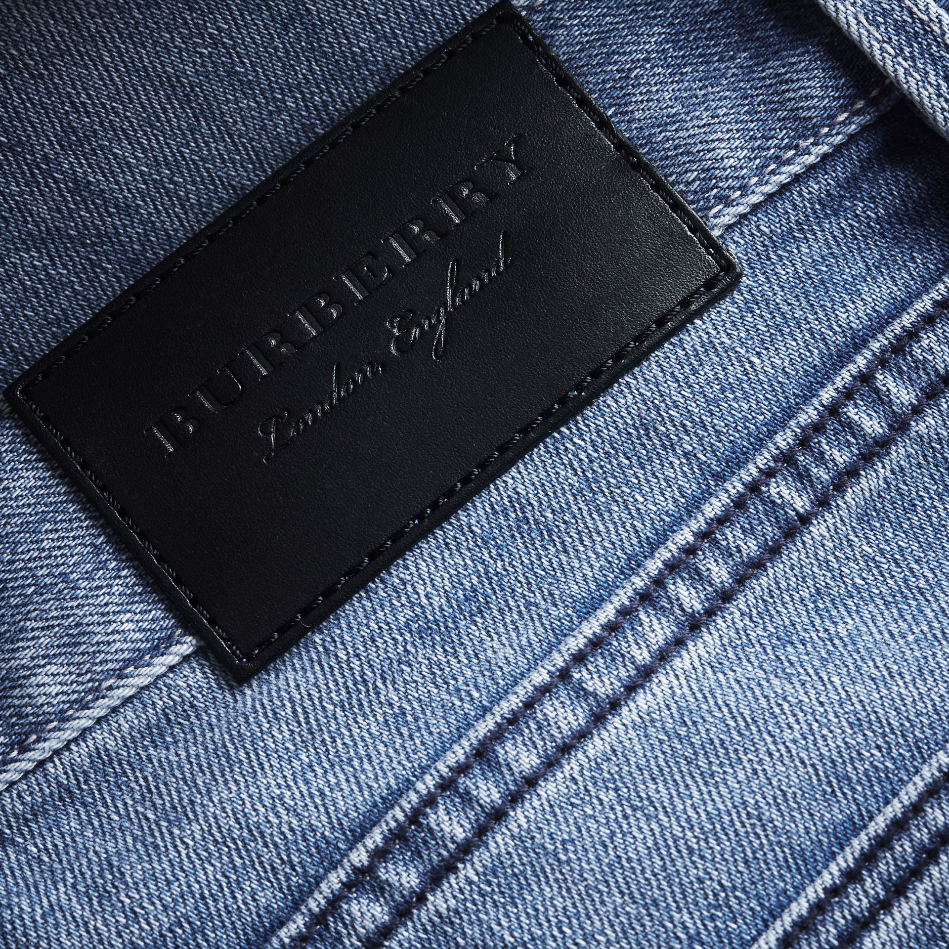 Skinny Fit Brushed Stretch Denim Jeans in Light Indigo Blue - Men | Burberry United Kingdom - gallery image 1
