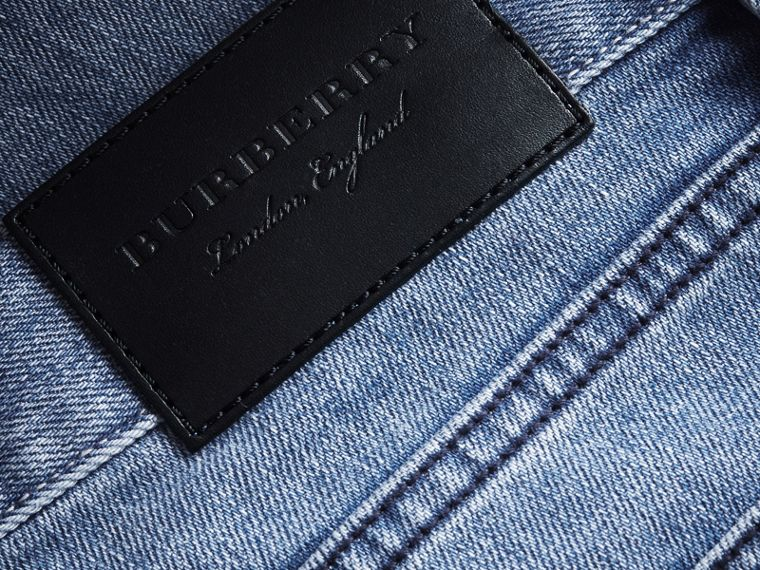 Skinny Fit Brushed Stretch Denim Jeans in Light Indigo Blue - Men | Burberry - cell image 1