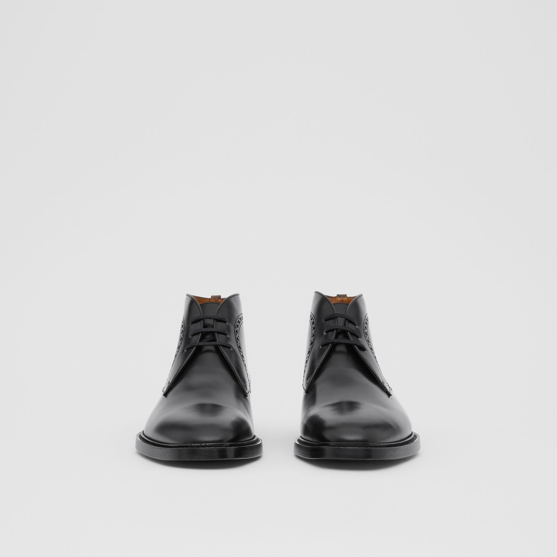 Brogue Detail Leather Boots in Black - Men | Burberry Singapore - gallery image 2