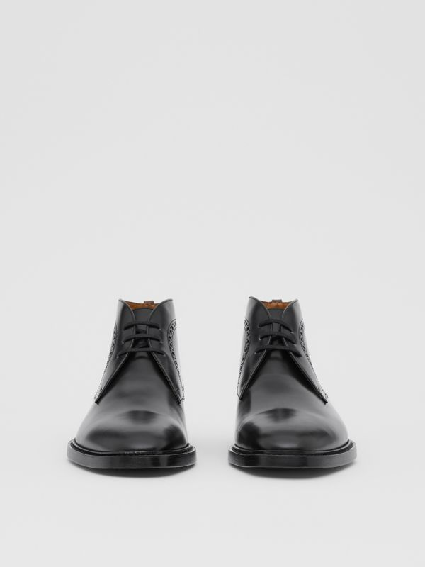 Brogue Detail Leather Boots in Black - Men | Burberry - cell image 3