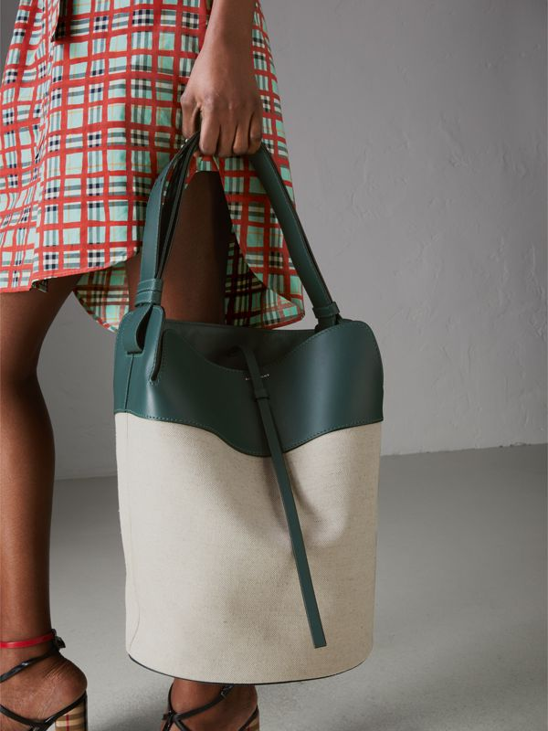 The Large Cotton Linen and Leather Bucket Bag in Dark Cyan - Women | Burberry - cell image 3