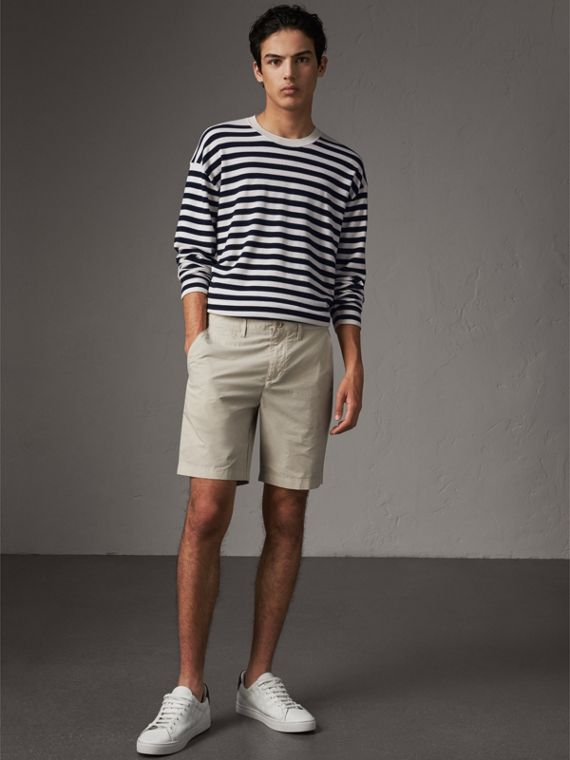 Cotton Poplin Chino Shorts in Stone