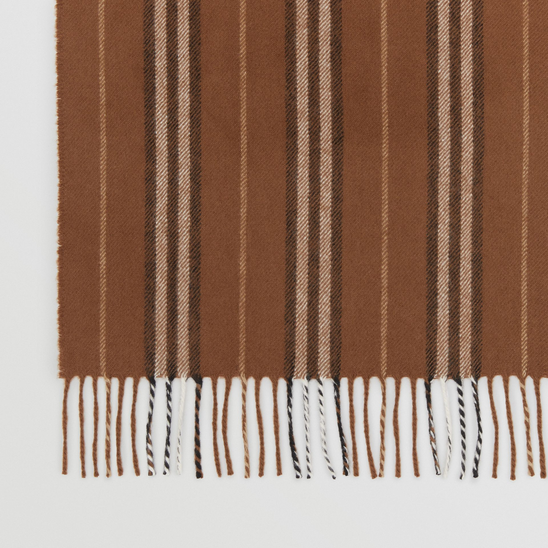 Icon Stripe Cashmere Scarf in Dark Chestnut Brown | Burberry - gallery image 1