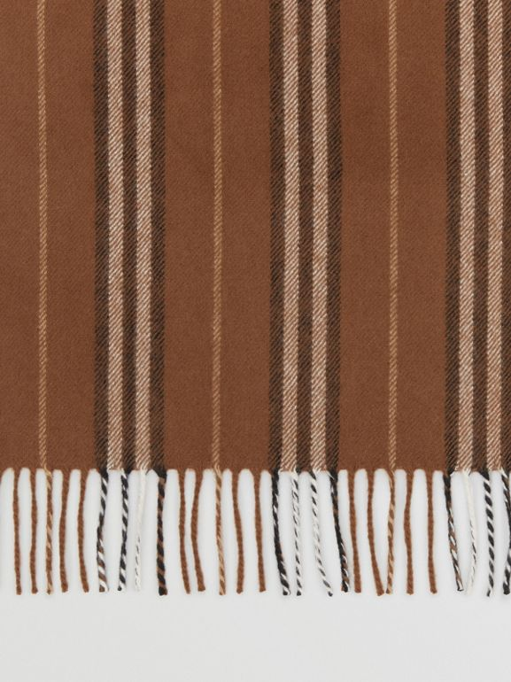 Icon Stripe Cashmere Scarf in Dark Chestnut Brown | Burberry - cell image 1