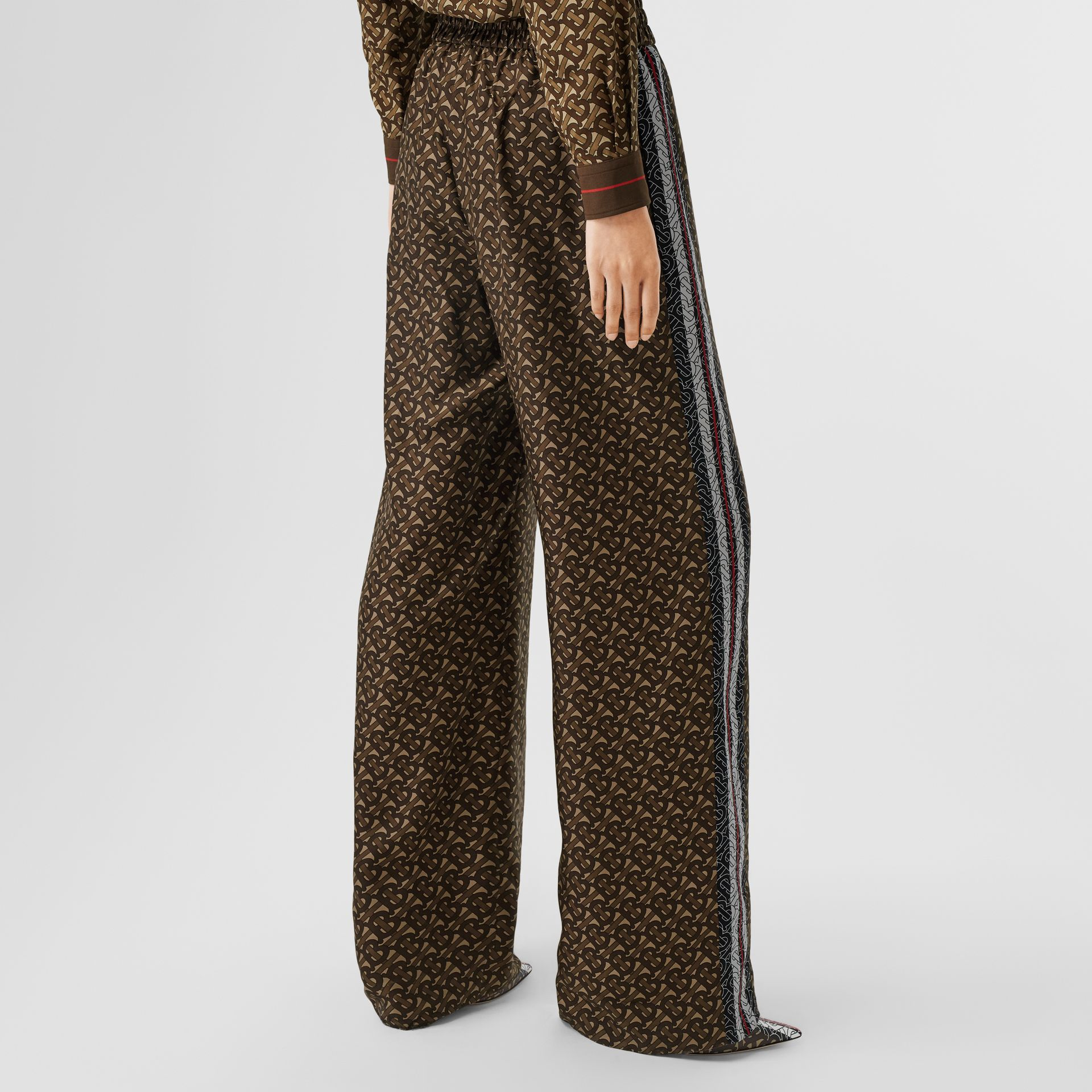 Monogram Stripe Print Silk Trousers in Bridle Brown - Women | Burberry - gallery image 4