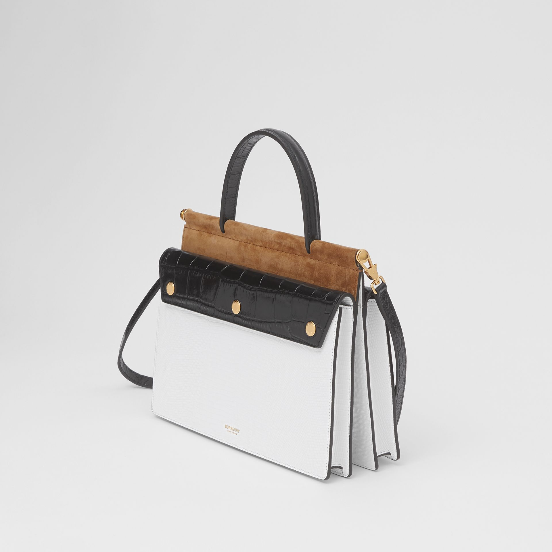 Small Deerskin Title Bag with Pocket Detail in White/maple - Women | Burberry Australia - gallery image 2