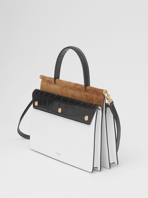 Small Deerskin Title Bag with Pocket Detail in White/maple - Women | Burberry Australia - cell image 2