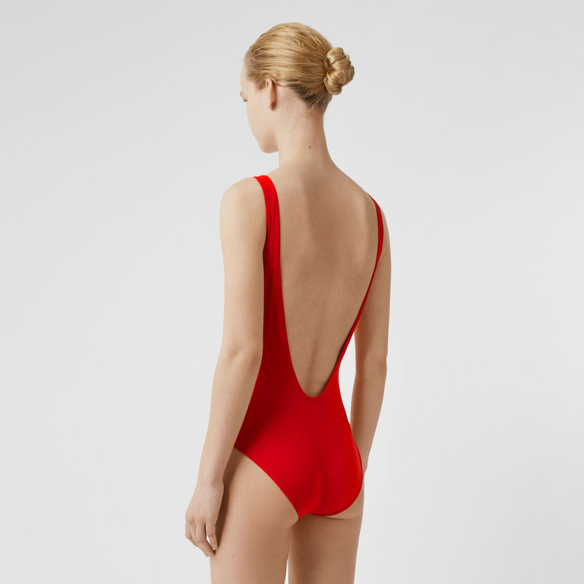 Archive Logo Print Swimsuit in Bright Red - Women | Burberry - gallery image 1