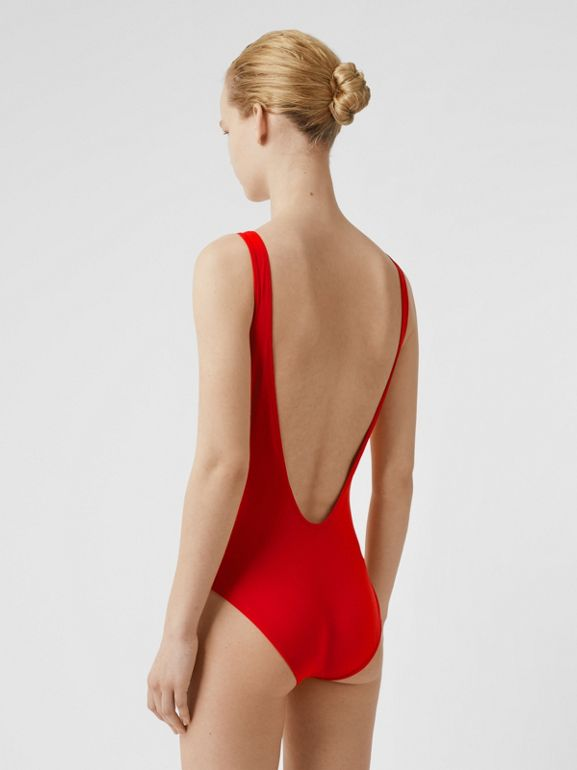 Archive Logo Print Swimsuit in Bright Red - Women | Burberry - cell image 1