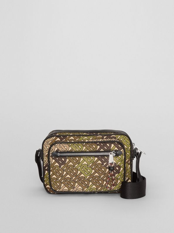 Monogram Print and Leather Crossbody Bag in Khaki Green
