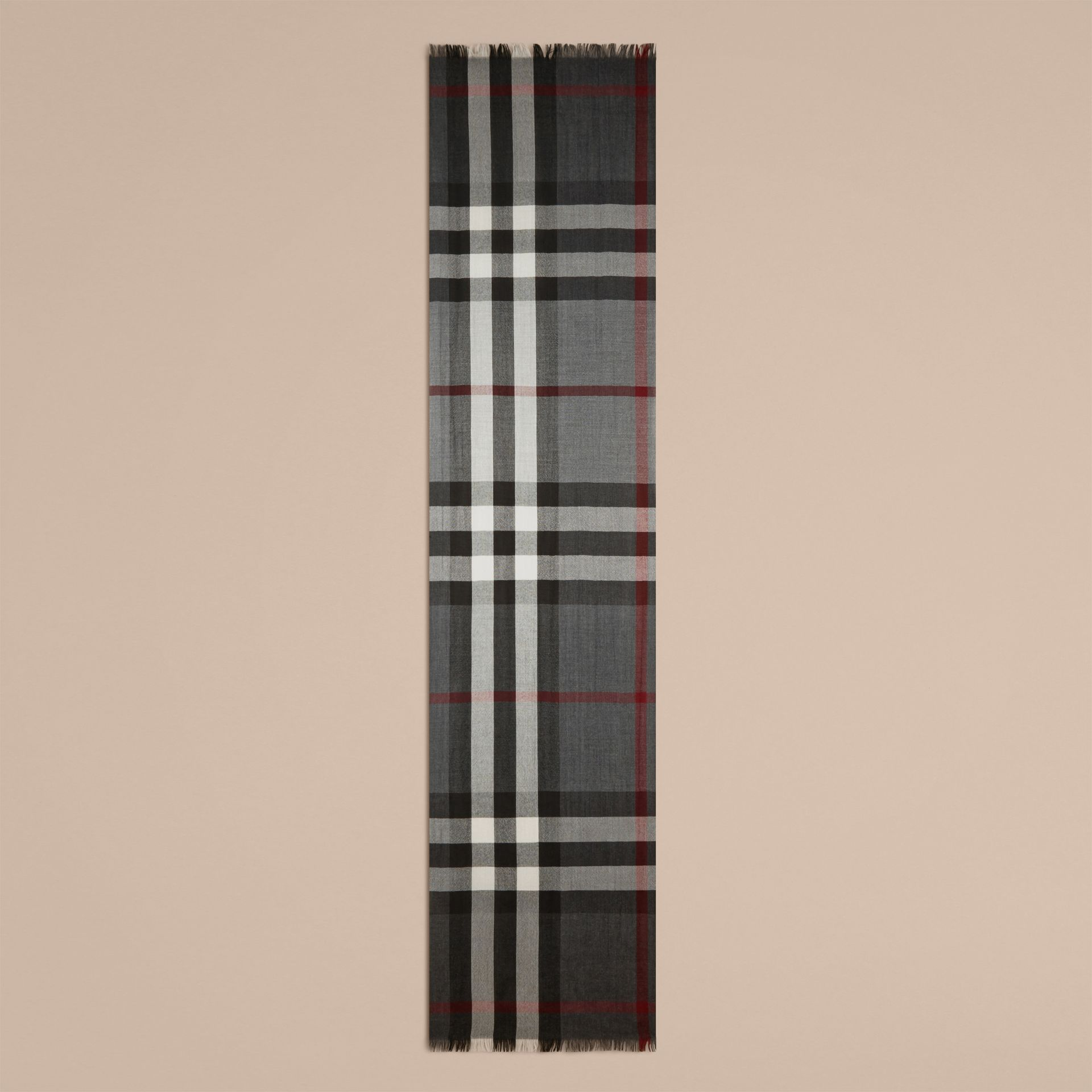 Lightweight Check Wool Cashmere Scarf Charcoal - gallery image 4