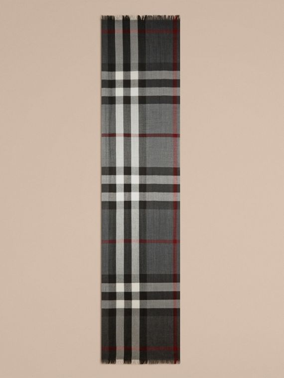 Lightweight Check Wool Cashmere Scarf in Charcoal - cell image 3