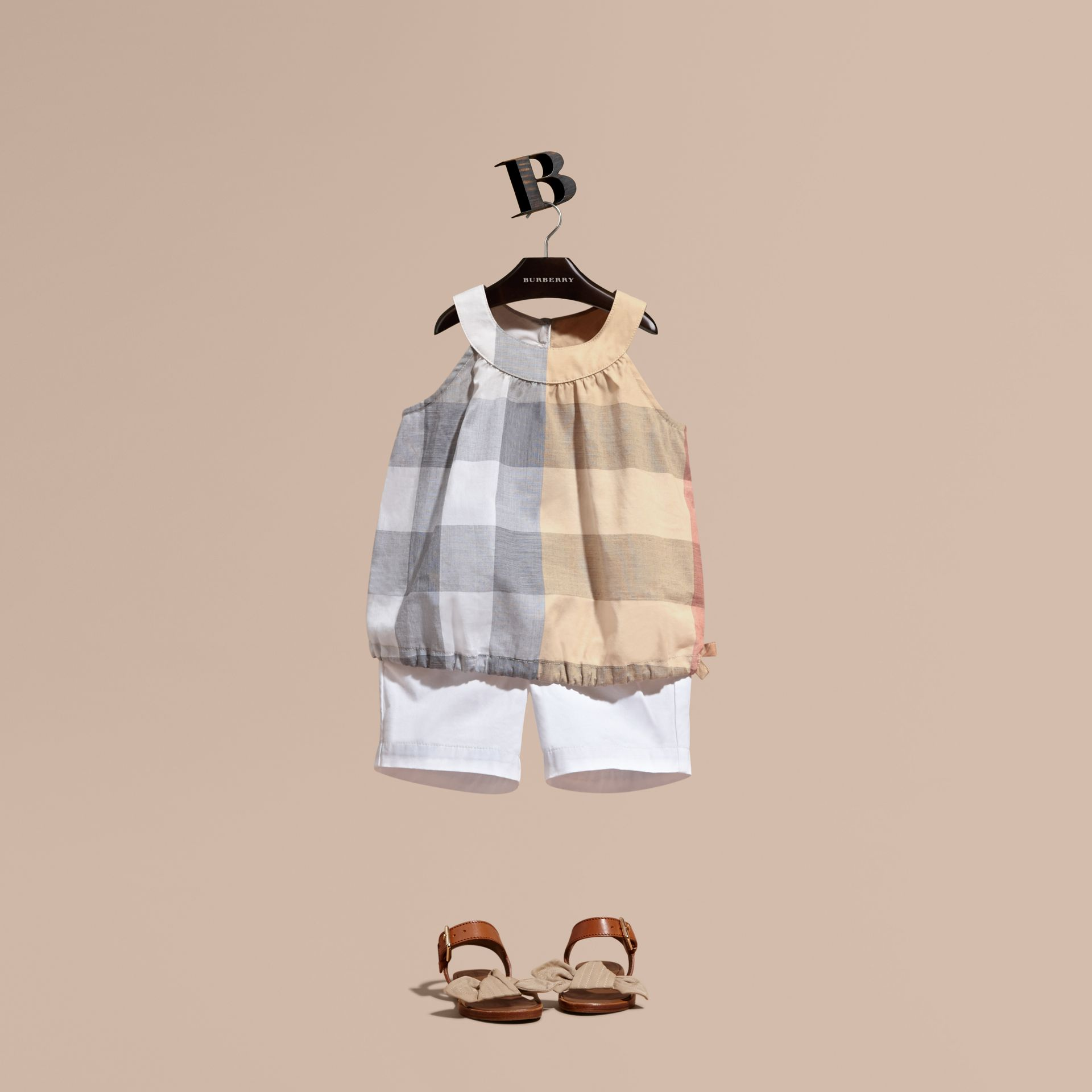 Gathered Check Cotton Top in Pale Stone | Burberry - gallery image 1