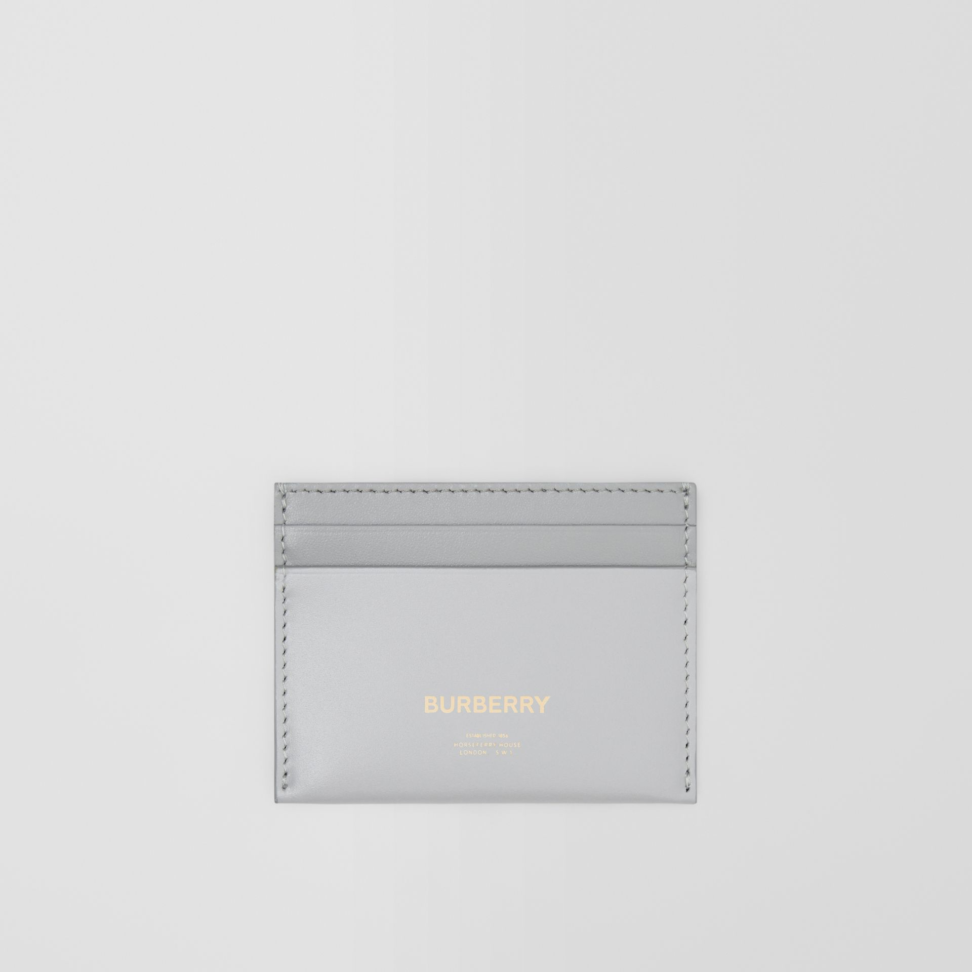Horseferry Print Leather Card Case in Heather Melange/cloud Grey - Women | Burberry - gallery image 0
