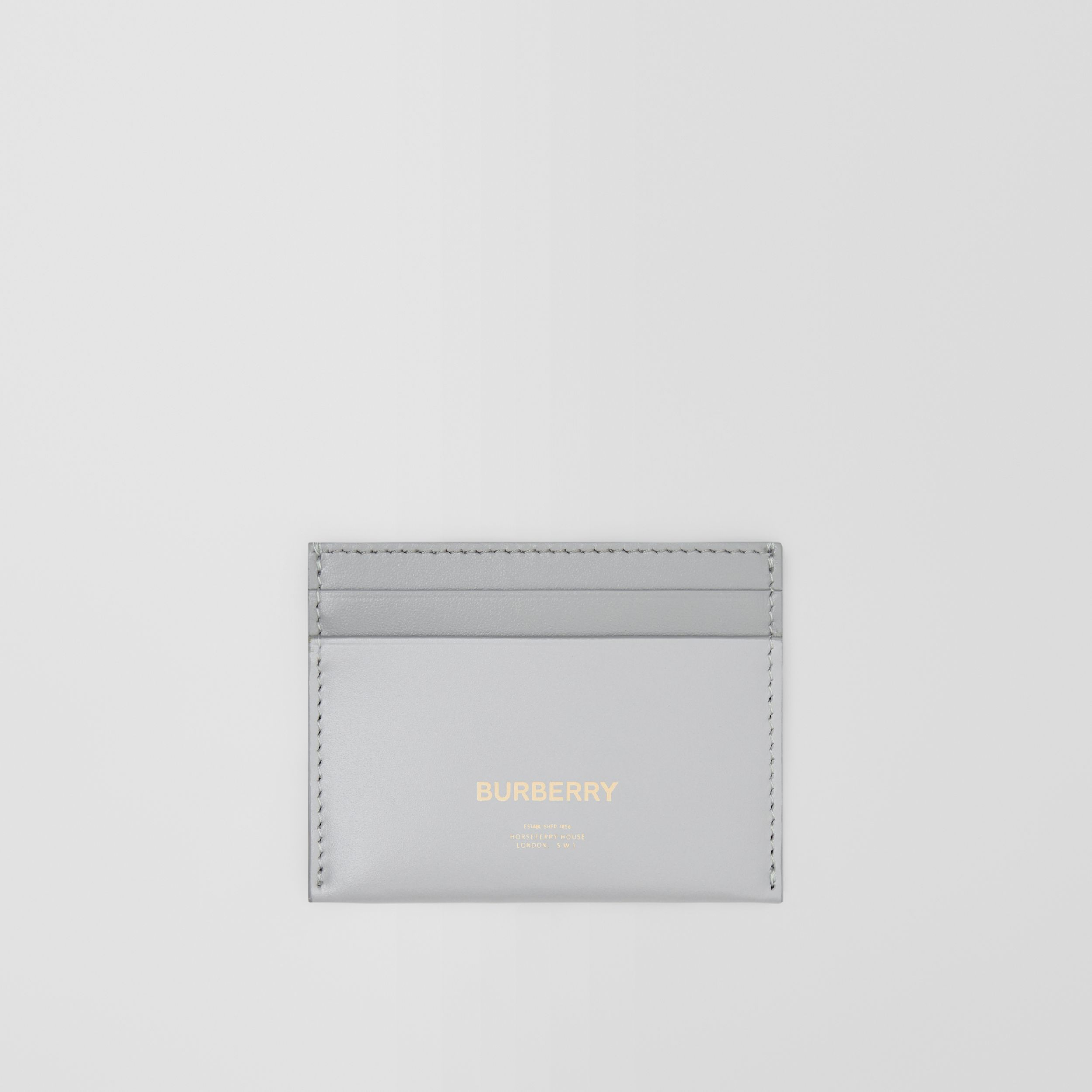 Horseferry Print Leather Card Case in Heather Melange/cloud Grey - Women | Burberry - 1