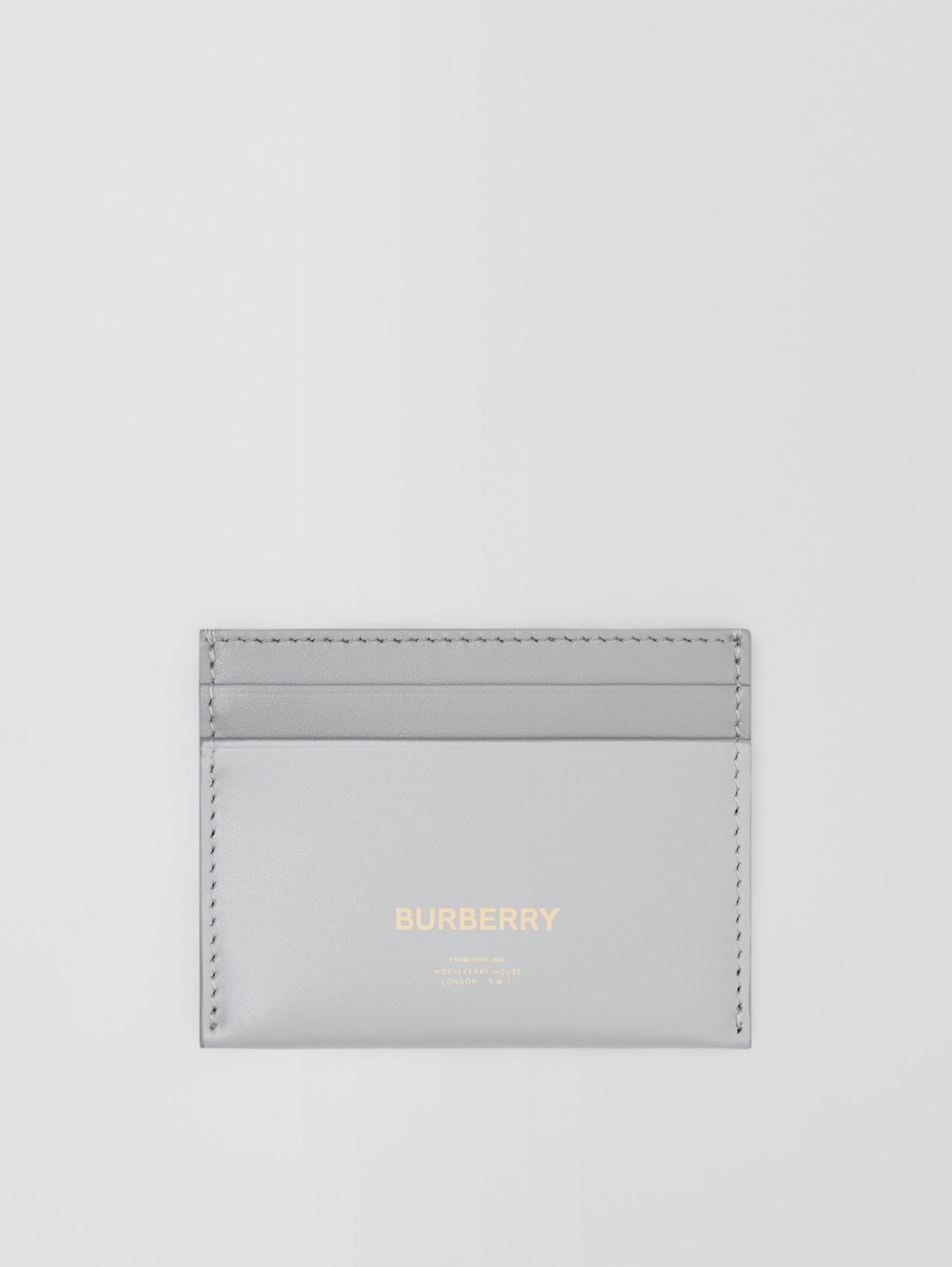Horseferry Print Leather Card Case in Heather Melange/cloud Grey