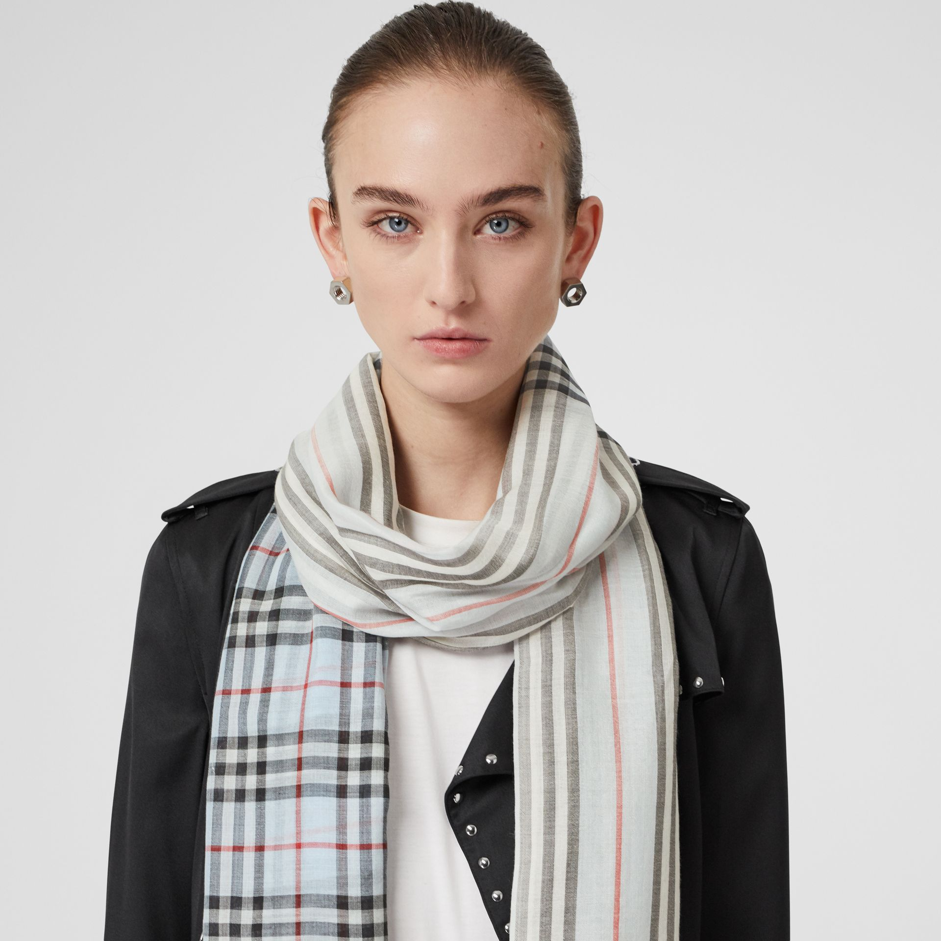 Icon Stripe and Vintage Check Wool Silk Scarf in Pale Blue | Burberry Australia - gallery image 2