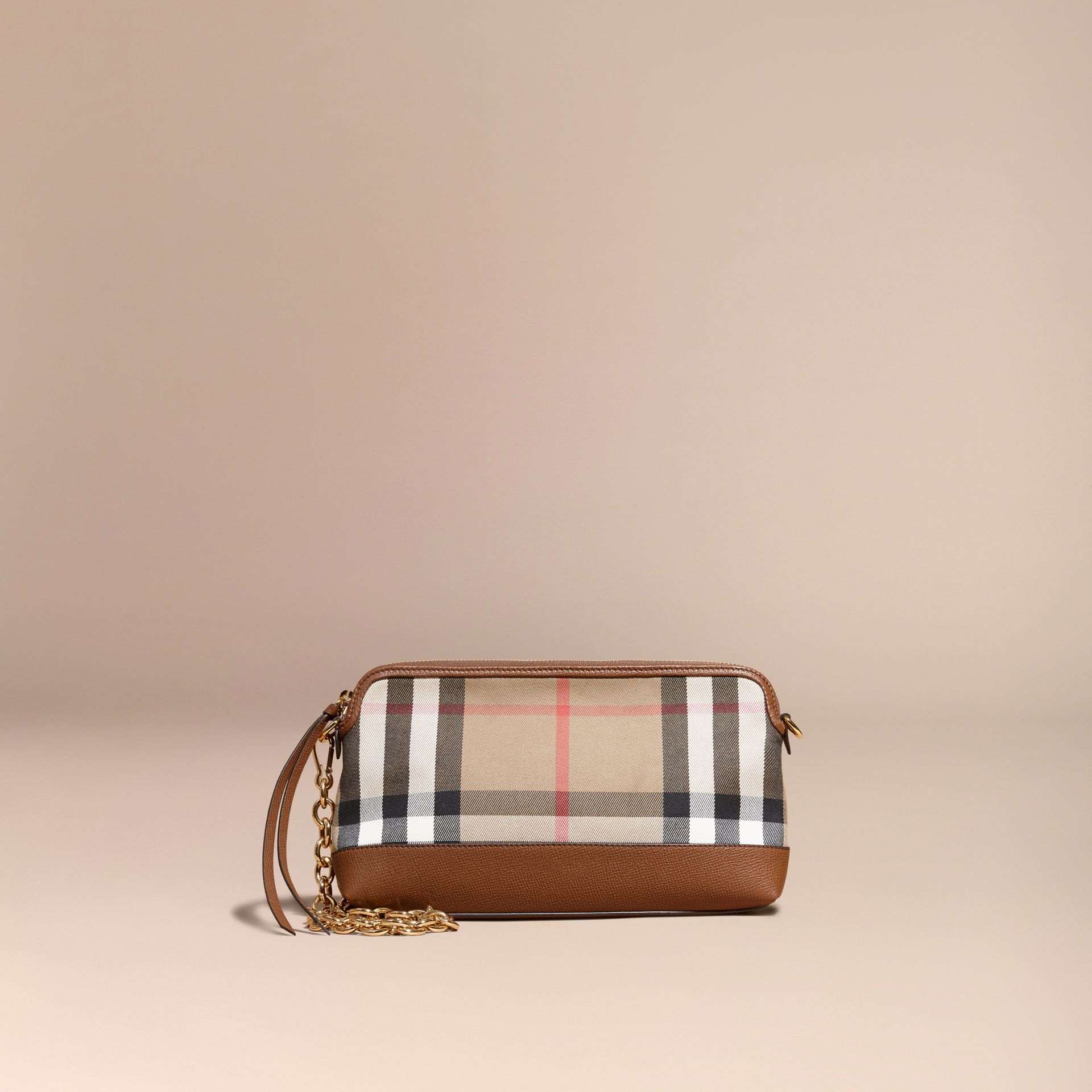 House Check and Leather Clutch Bag in Tan - gallery image 8