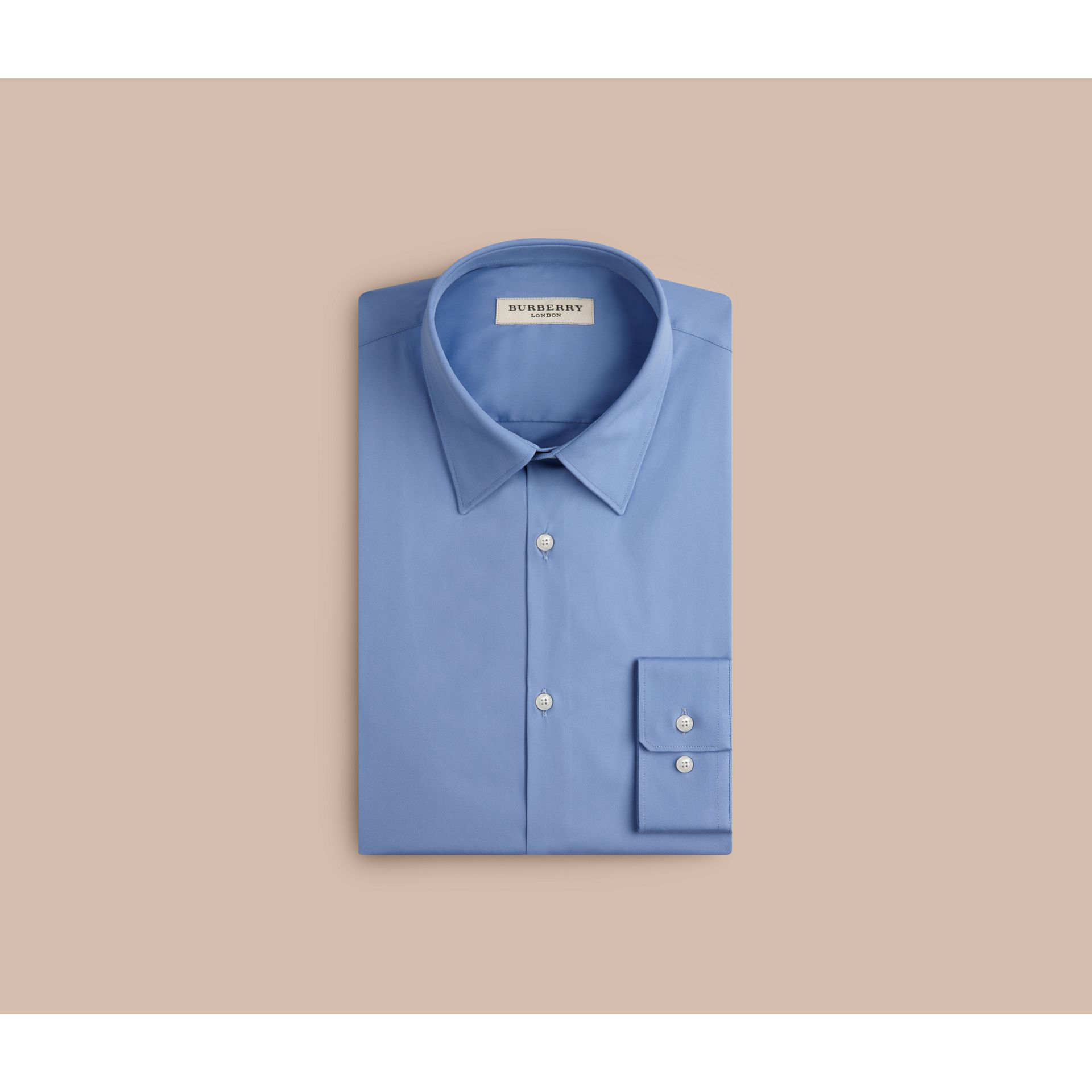 Slim Fit Stretch Cotton Shirt in Mid Blue - gallery image 4