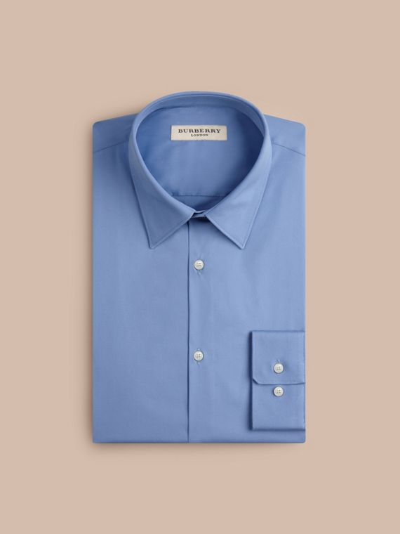 Slim Fit Stretch Cotton Shirt in Mid Blue - cell image 3