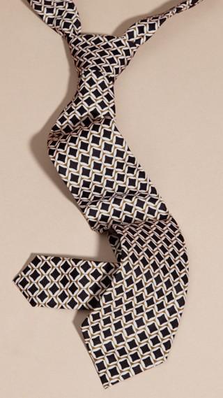 Modern Cut Geometric Print Silk Tie