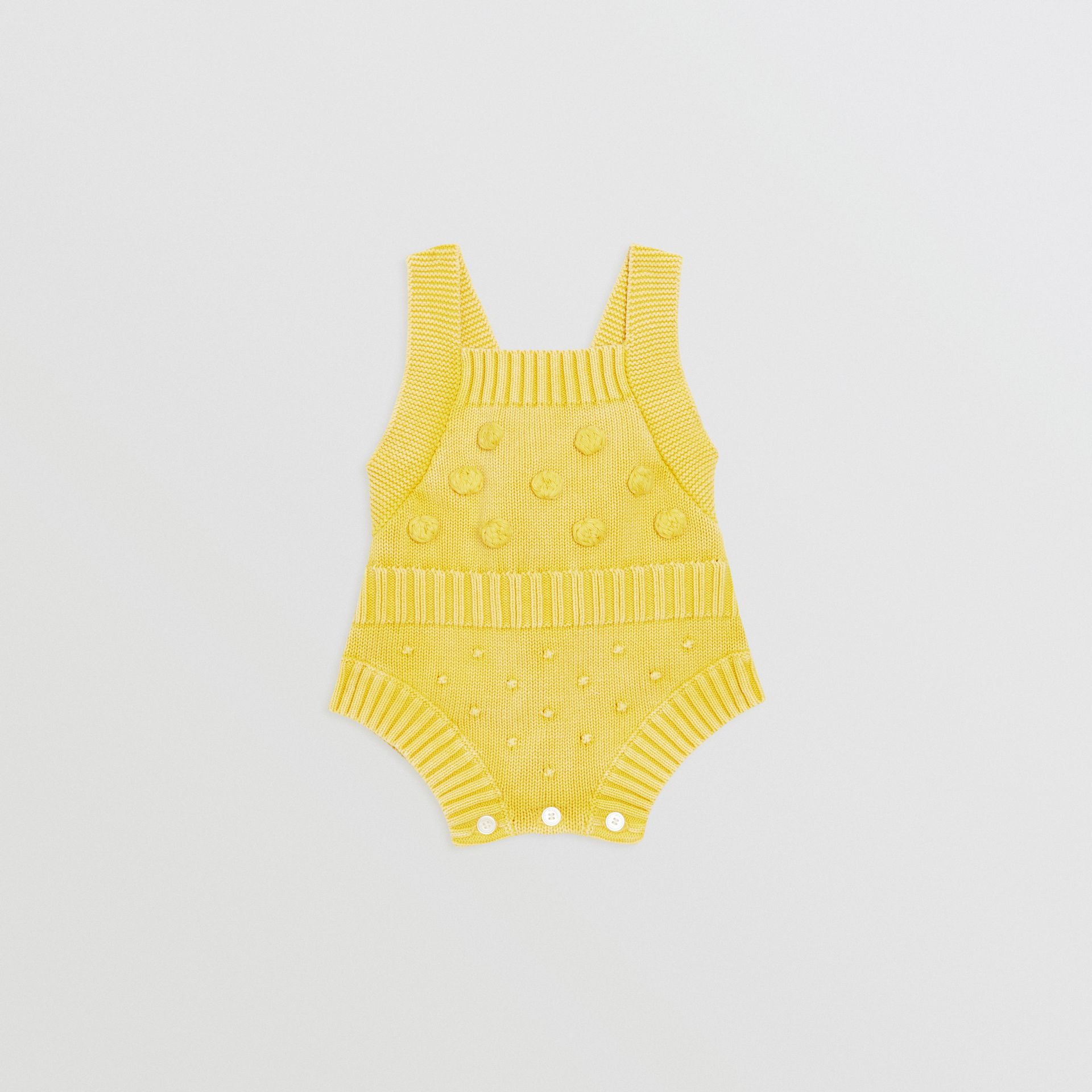 Contrast Knit Cotton Playsuit in Citrus Yellow - Children | Burberry United Kingdom - gallery image 0