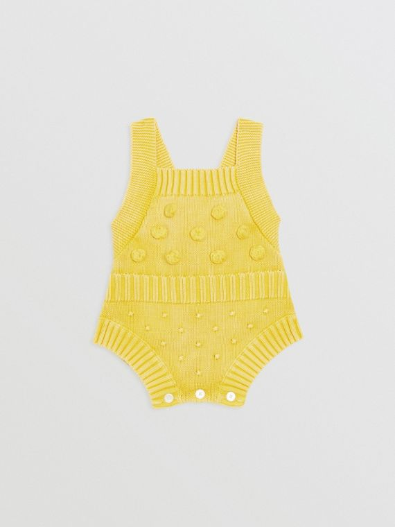 Contrast Knit Cotton Playsuit in Citrus Yellow