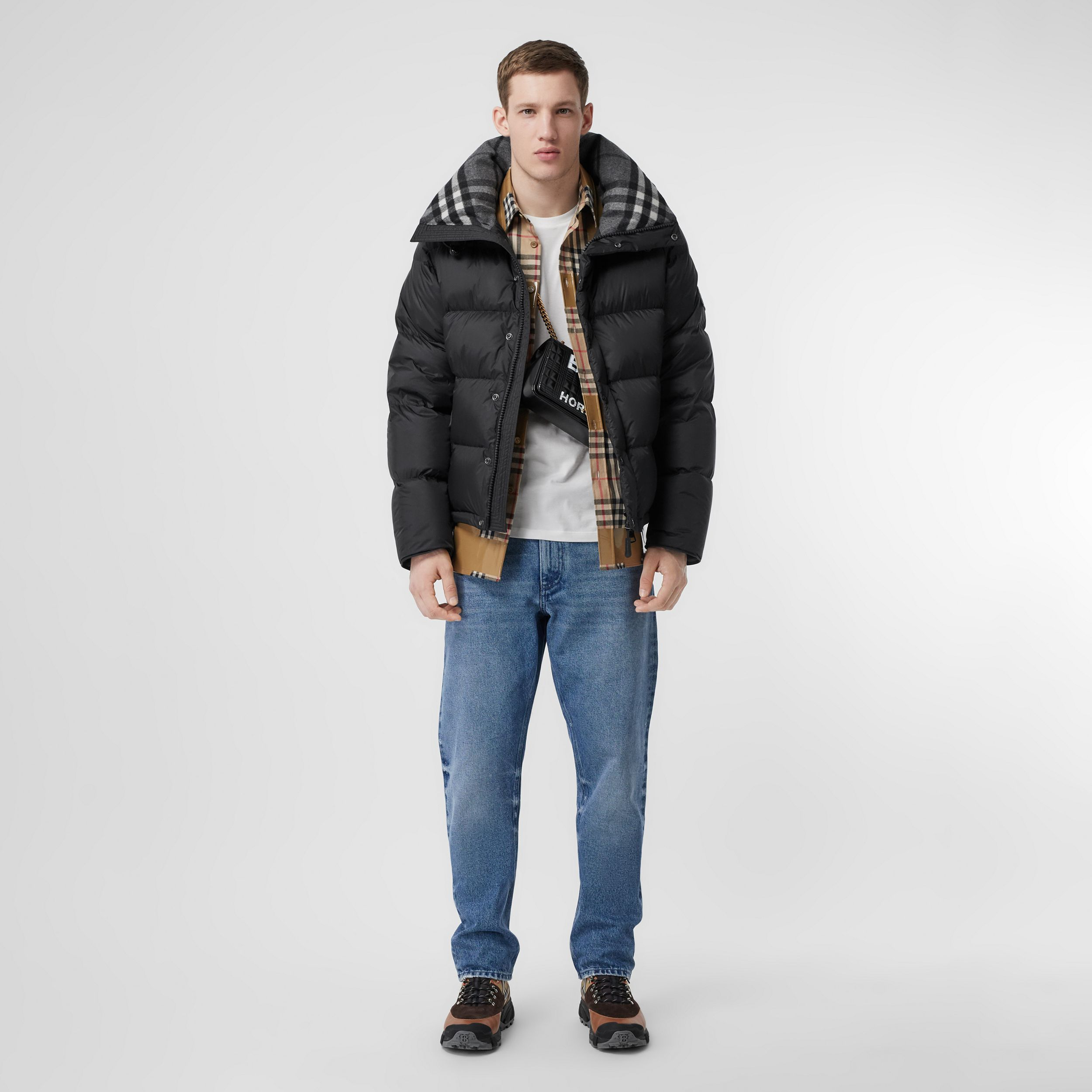 Detachable Sleeve Hooded Puffer Jacket in Black - Men | Burberry - 1