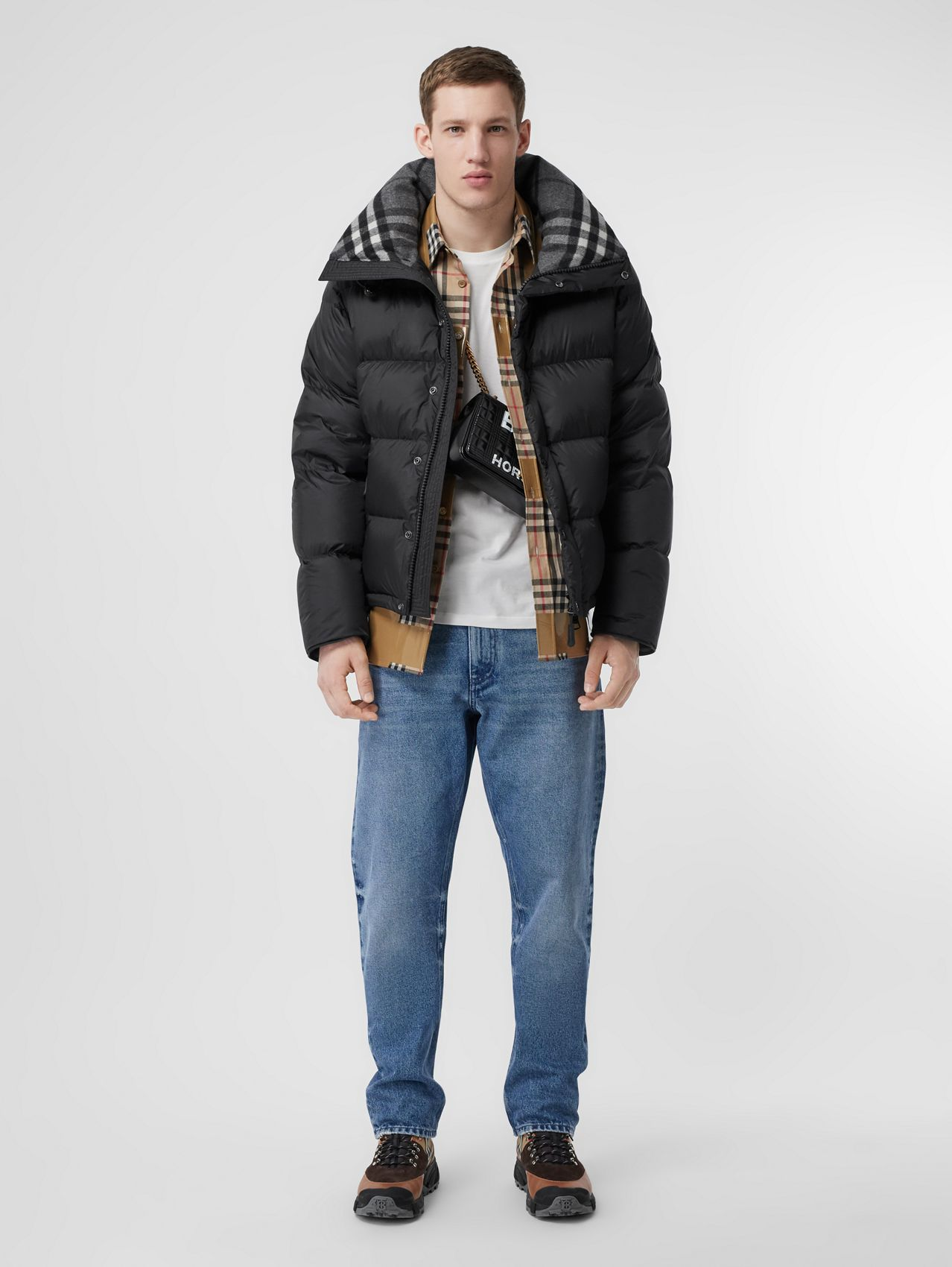 Detachable Sleeve Hooded Puffer Jacket (Black)