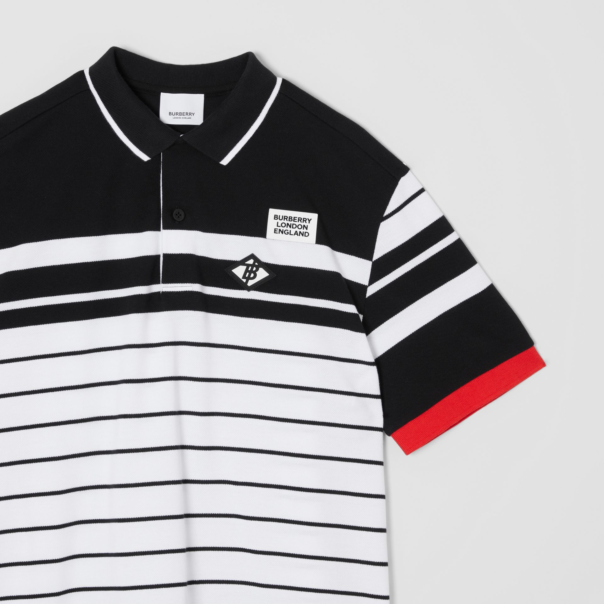 Logo Graphic Striped Cotton Piqué Polo Shirt in Multicolour | Burberry - gallery image 4
